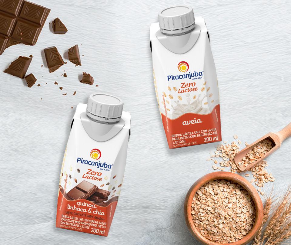 A família de Bebidas com Cereais Piracanjuba cresceu! A linha ganha mais dois novos deliciosos sabores: Aveia Zero Lactose e Chocolate meio Amargo Zero Lactose.