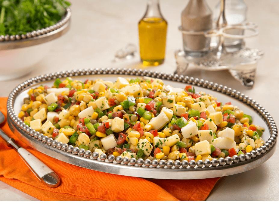 Piracanjuba | Salada de grãos com cubos de mussarela